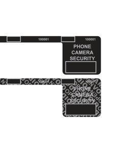 "Custom Universal 2.0 Smartphone Security Black Labels (1.5"" x 1.5"" x .25"" x 8.25"") Roll of 400"