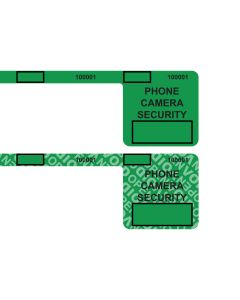 "Custom Universal 2.0 Smartphone Security Green Labels (1.5"" x 1.5"" x .25"" x 8.25"") Roll of 400"