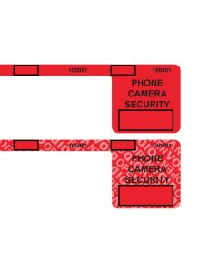 "Custom Universal 2.0 Smartphone Security Red Labels (1.5"" x 1.5"" x .25"" x 8.25"") Roll of 400"
